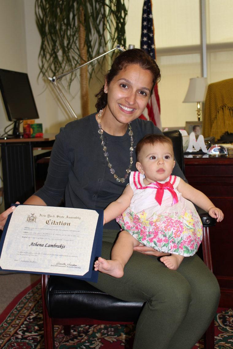 New York State Assemblymember Aravella Simotas with Athena Lambrakis. Photo by Alexia Makrigiann