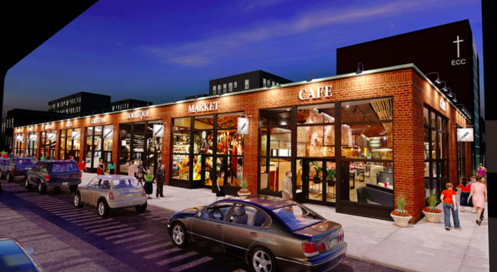 Artist rendition of astoria food hall via vass stevens group