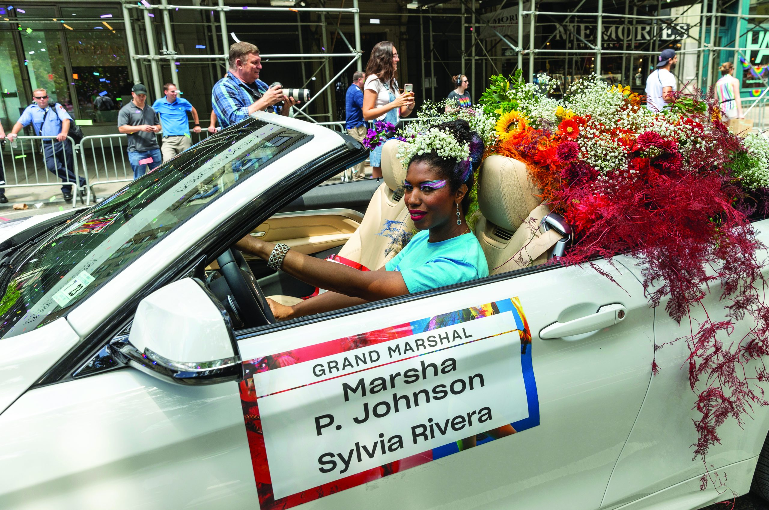 New York, NY - June 30, 2019: Grand Marshal Marsha P. Johnson attends New York 2019 Pride March on 5th Avenue in Manhattan
