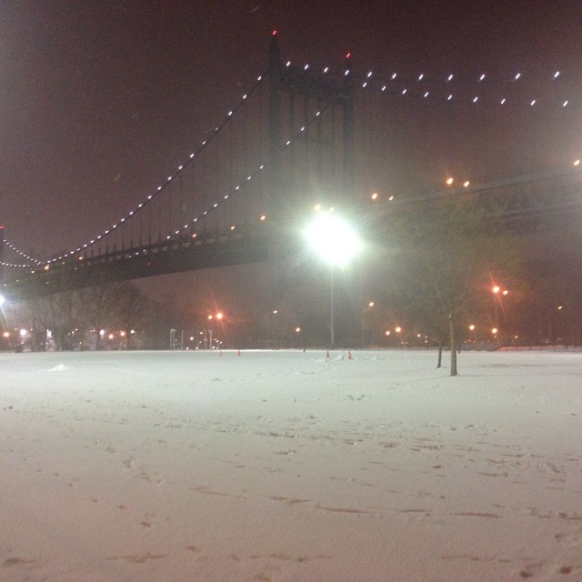 Astoria Park, currently covered in snow