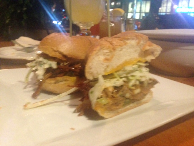 Who Dat: BBQ pulled pork, fried pickles, cheddar cheese, apple slaw, jalapeno, ranch dressing, on a hero